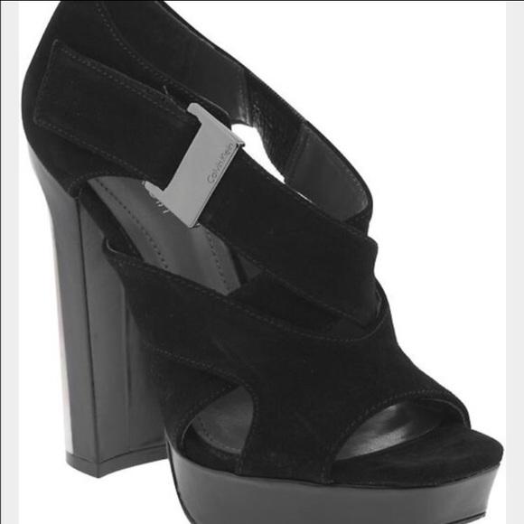 46325f9c2d Calvin Klein Shoes   Black Suede Strap Peep Toe Platform   Poshmark